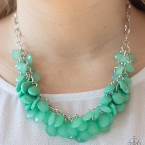 Colorfully Clustered green necklace